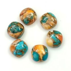 6 Pieces 10x10 Mm Oyster Copper Turquoise Wholesale Cushion Shape Gemstone M-148