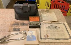 Vintage Navy Doctor Medical Bag Packed Full With Medical Certificates And More