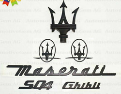 For Maserati Sq4 Ghibli Grille Trident Matte Black Trunk Rear Boot Side Emblems
