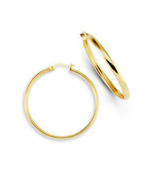 New 14k Yellow Bonded Gold Large Round Hoop Earrings-sg187