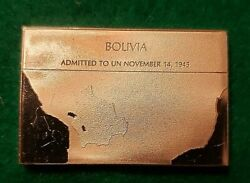 Franklin Mint Flags Of United Nations Bolivia .925 Sterling Silver Ingot 28 Gr.