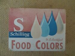 Vintage Box Of Schilling Food Colorings 4 Empty Bottles 2