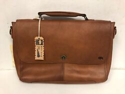 Buffalo Jackson Trading Co Denver Autumn Brown Messenger Leather Bag w Strap $150.00