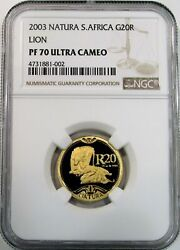 2003 Gold South Africa 20 Rand Natura Lions Coin Ngc Proof 70 Ultra Cameo
