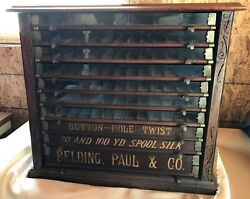 Antique Vintage Drawer Belding Paul And Co Spool Cabinet Country Store Display