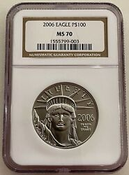 2006 100 Platinum Eagle Ngc Ms70 Statue Of Liberty 1 Ounce