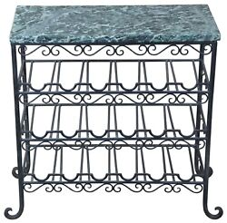 Vintage Iron And Green Marble Top 18 Bottle Wine Rack Cellar Side Table Stand 25