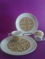 11 Vtg Georges Briard Spanish Mcm Snack Sets Cup And Plate White Olive Gold 60-70s