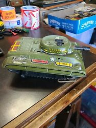 Vintage 1950's Marx Toy Company Tin Litho Us Army Tank Wind-up Toy Used