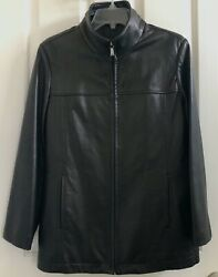 WOMEN#x27;S MARC NEW YORK ANDREW MARC LEATHER JACKET BLACK BUTTERY ZIP UP $59.95