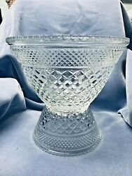 Large Anchor Hocking Wexford Glass Punch Bowl With Base And 18 Cups