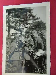 Wwii Original German Photo Combat Soldiers With Surveying Sextant