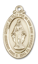 Bliss Our Lady Of Miraculous 1 1/8 X 5/8 Inch 14kt Gold Oval Medal