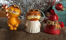 Vintage Garfield As Angel, With Candy Cane Bell Ceramic Ornament Lot Of 3 78 81