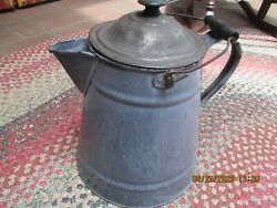 Antique Large 13 Gray Enamelware/graniteware Campfire Coffee Pot - Great Cond.