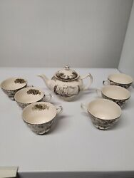 Vintage Johnson Brothers Friendly Village,teapot And Six Cups Made In England