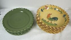 Target Home Rooster 8 3/4 Bowls 6 And Green Salad Plates 6 Rustic Country