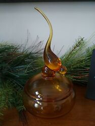 Vintage Viking Glass Epic Long Tail Bird Covered Candy Dish Amber Gold Honey Mcm