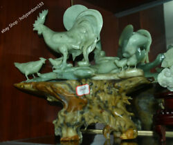 15 Chinese Natural Green Jade Jadeite Carved Animal Rooster Cock Family Statue