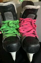 Bauer Hockey Skates Pink And Green Laces Size 3.5 Shoe Size 4.5