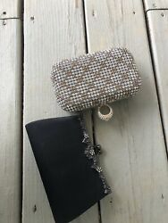 Lot Of 2 Clutch Purses With Straps Black And Gold $15.99