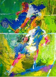 Leroy Neiman's Large Classic Tennis Serigraph Match Point 1973 Edition Of 300