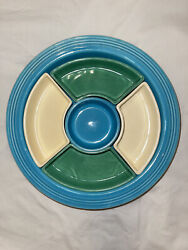 Vintage Fiestaware Hlc Relish Dish Snack Tray 6 Light Green Yellow Turquoise