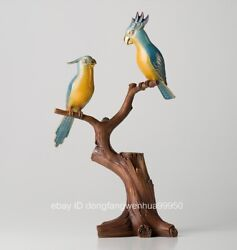 Chinese Red Copper Cloisonne Enamel 24k Gold Two Bird Parrot Animal Sculpture