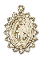 Bliss Our Lady Of Miraculous 1 3/4 Inch 14kt Gold Medal