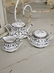 Antique French Limoge B And Co Sterling Silver Overlay Teapot Creamer And Sugar