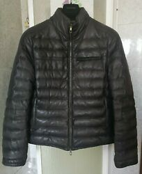 Valentino New Padded Hooded Collar Puffer Down Faded Leather Bomber Jacket Coat