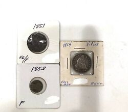 3- Type Coins- 1853 Silver 3 Cent Piece 1851 Half Cent 1854 Seated Quarter