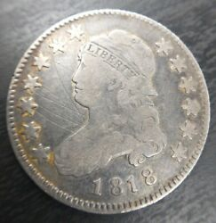 1818 P Capped Bust Quarter 25c Fine Very Fine F/vf Details Scratched B-6 R4