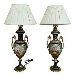 F32589ec Pair Seures Porcelain Large Blue Urn Decorated Table Lamps