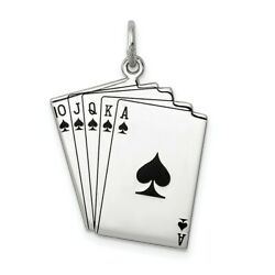 925 Sterling Silver Playing Cards Pendant Charm Necklace Gambling Fine Jewelry