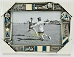 Fetco Home Decor Soccer 6quot; x 4quot; Picture Frame Score Free Kick Goal Pewter NEW