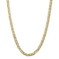 14k Yellow Gold 7mm Concave Link Anchor Chain Necklace 22 Inch Pendant Charm