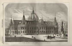 1868. Design For House Of Lords, Vienna, By Herr F. Schmidt, Architect. The Buil