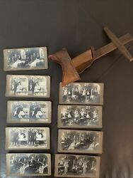 Lot 10 Antique Wooden View Finder Stereoscope With 9 Card Slides