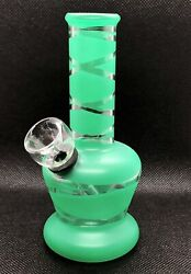Collectible 5 Inch Green Glass Bong Portable Water Pipe Stripes Design Usa