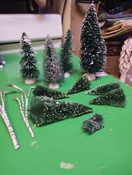 Vintage Lot Of 10 Bottle Brush Christmas Trees, Flocked And Birch Limbs