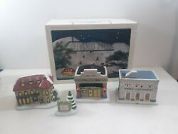 1991 Holiday Bedford Falls 4 Piece Lighted Porcelain Christmas Village Houses