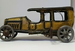 Antique Taxi Car Distler Limousine Wind Up Tin Litho Toy Made In Germany