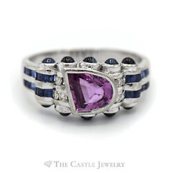 Le Vian Pink Sapphire Ring With Blue Sapphire And Diamond Accents In 18k White Gol