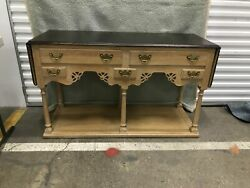 French Country Rustic Hickory Furniture Oak Drop Leaf Server Buffet