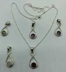 Sterling Silver Genuine Gem Stone Pendants With Adjustable Chain