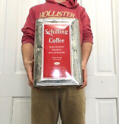 Vintage Schilling 20 Lb Ground Coffee Can Large Square Sign Tin Metal Antique