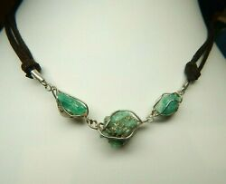 Colombian Emerald Natural Raw Crystals 22.00 Cts Necklace Silver 950 Muzo Mines