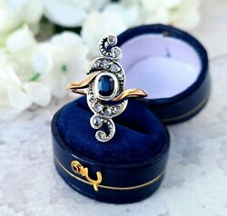 Antique 18ct Rose Gold Ornate Diamond And Sapphire Statement Ring / Size Q