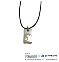 Snoopy Peanuts X Phiten Stainless Steel Square Pendant Cord Type Necklace Black